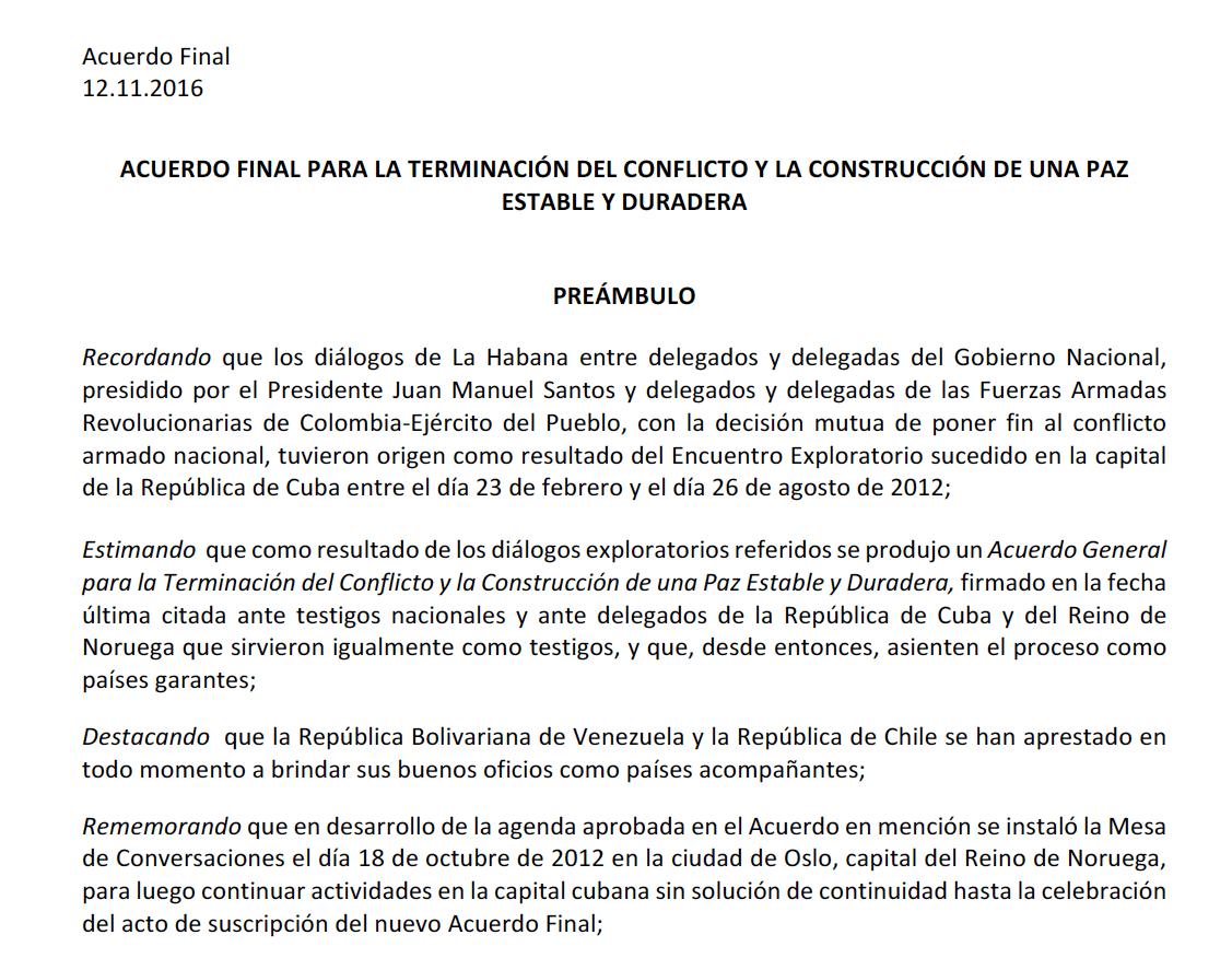 Nuevo Acuerdo de Paz entre el gobierno de Colombia y las Farc