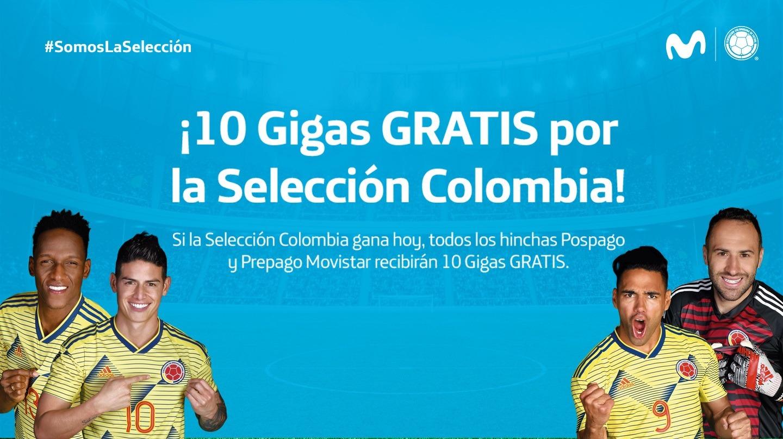 Clientes de Movistar recibirán 10 Gigas grátis por Partido de la Selección Colombia
